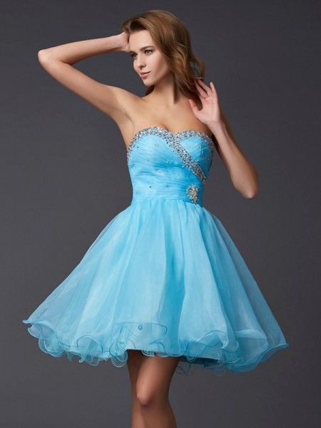 A Line Princess Sweetheart Beading Mini Tulle Gown
