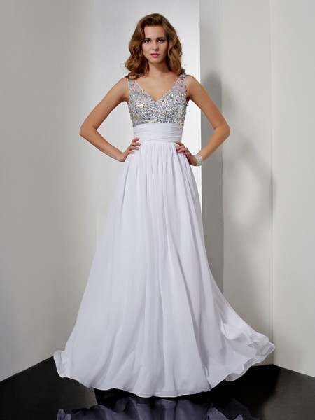 A Line Princess V-Neck Rhinestone Floor Length Chiffon Prom Dress