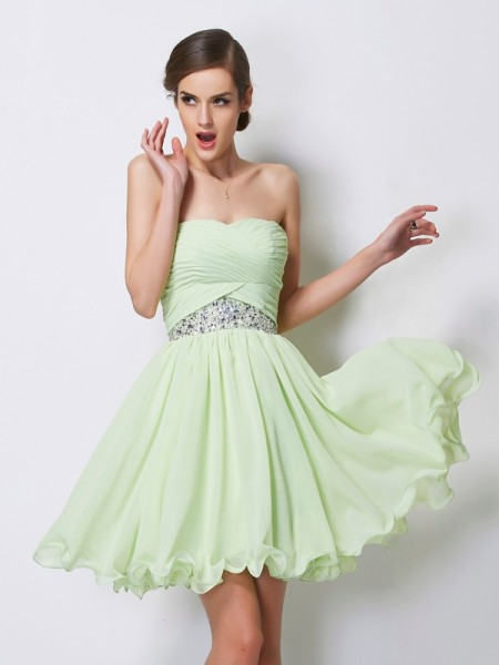 A Line Princess Sweetheart Beading Chiffon Mini Gown