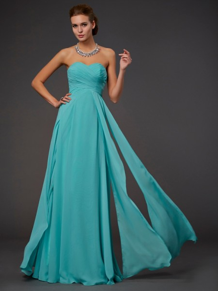 A Line Princess Sweetheart Pleats Floor Length Chiffon Dress