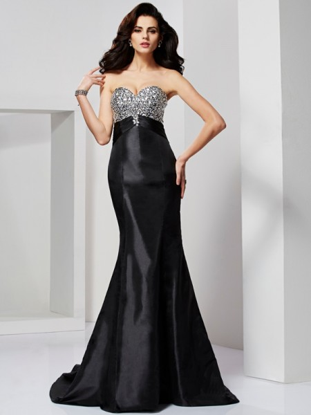 Mermaid Beading Sweetheart Sweep Brush Train Taffeta Evening Gown
