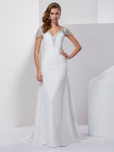 A Line Princess Sweetheart Short Sleeves Beading Chiffon Sweep Brush Train Evening Gown