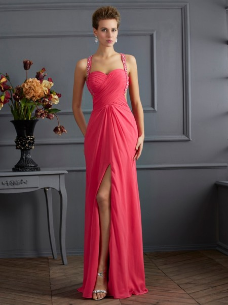 Empire Sweetheart Chiffon Beading Floor Length Evening Gown