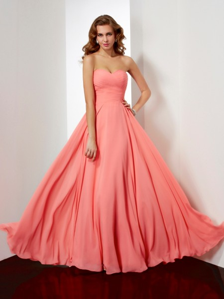 A Line Princess Floor Length Sweetheart pleating Chiffon Dresses