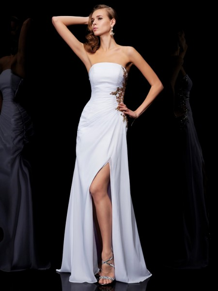 Column Floor Length Strapless Applique Chiffon Prom Dress