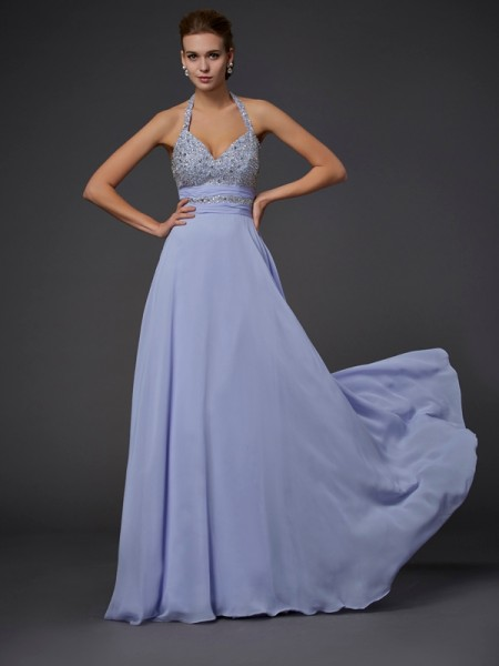 Beading A Line Halter Floor Length Chiffon Dress