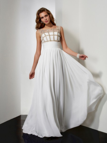 A Line Princess Floor Length Straps Beading Chiffon Prom Dress