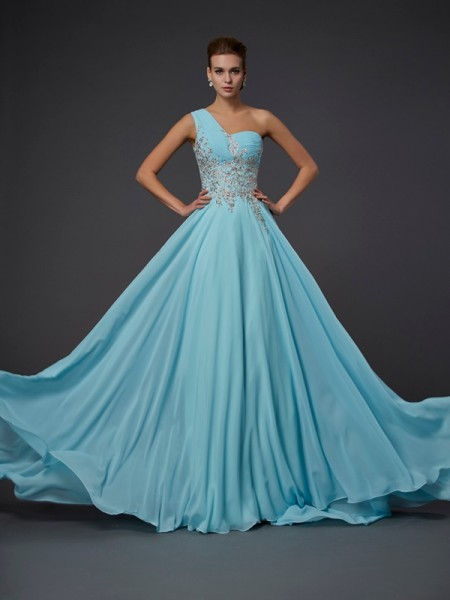A Line Princess One Shoulder Ruffles Chiffon Floor Length Evening Gown