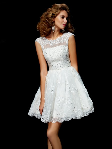 A Line Princess Short Sleeves Applique Organza V-Neck Mini Women Dresses