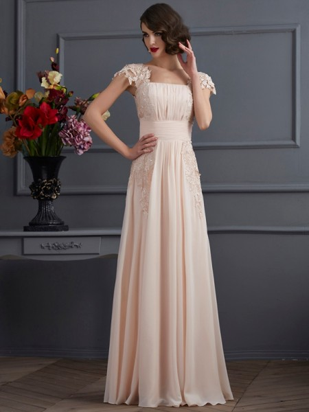 A Line Princess Square Short Sleeves Floor Length Chiffon Prom Dress with lace