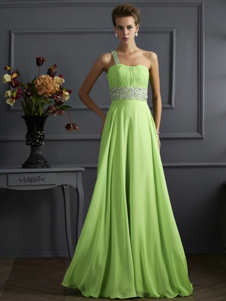 A Line Princess One Shoulder Floor Length Beading Chiffon Prom Dress