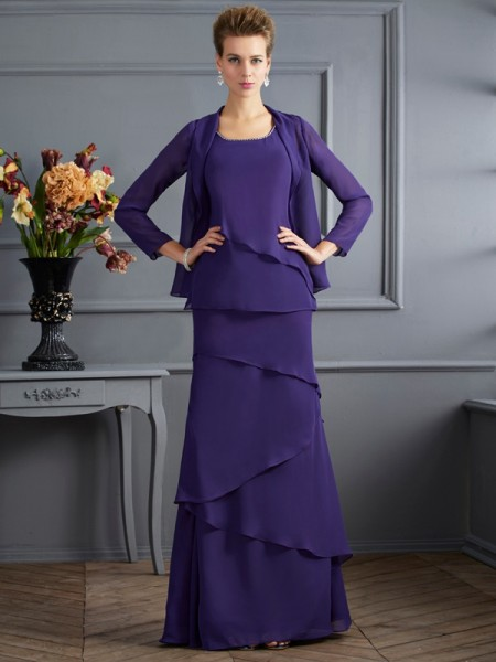 Column Scoop Floor Length Chiffon Ruffles Mother of the Bride Outfits