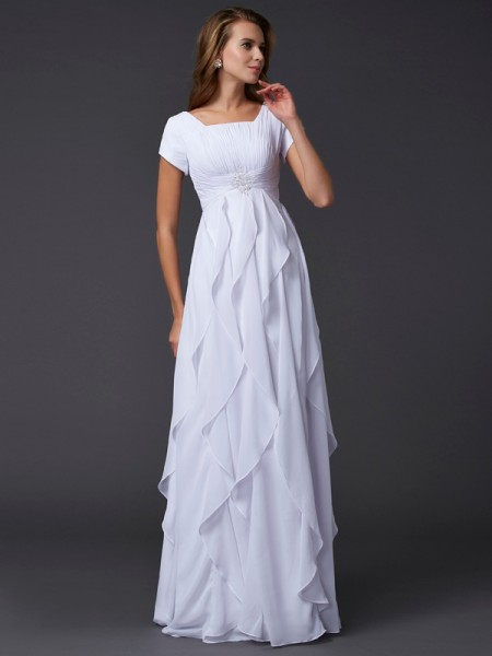 Column Ruffles Short Sleeves Square Chiffon Floor Length Evening Gown