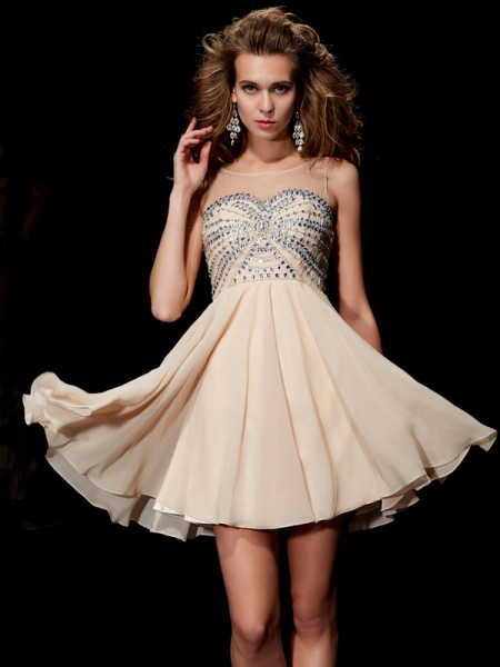 A Line Princess Scoop Beading Mini Chiffon Women Dresses