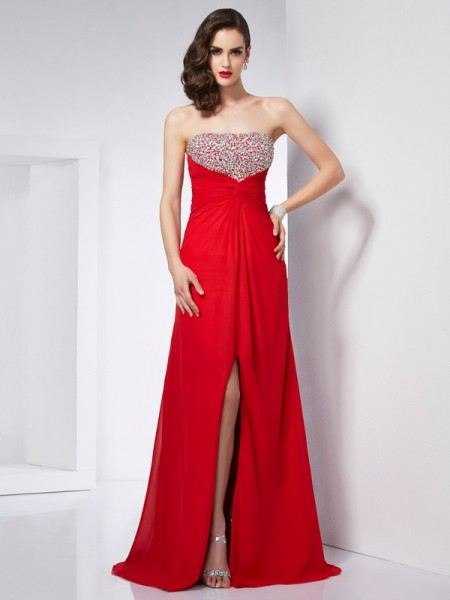 A Line Princess Strapless Beading Chiffon Floor Length Evening Gown