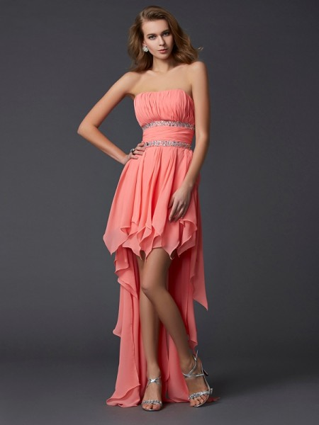 Empire Strapless Ruffles Chiffon Asymmetrical Gown