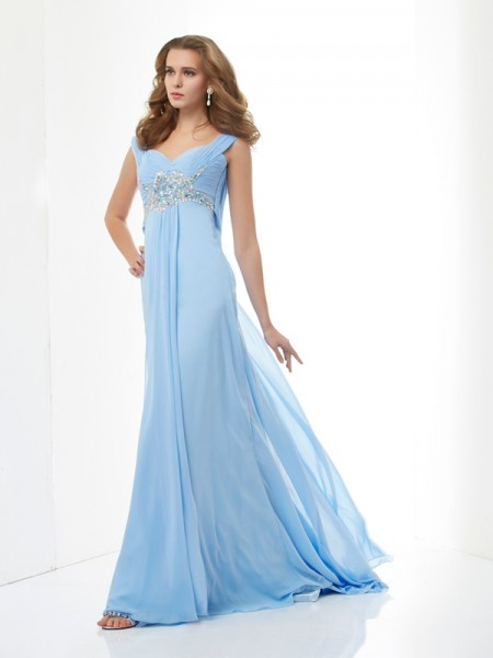 A Line Princess Sweetheart Straps Beading Chiffon Sweep Brush Train Evening Gown
