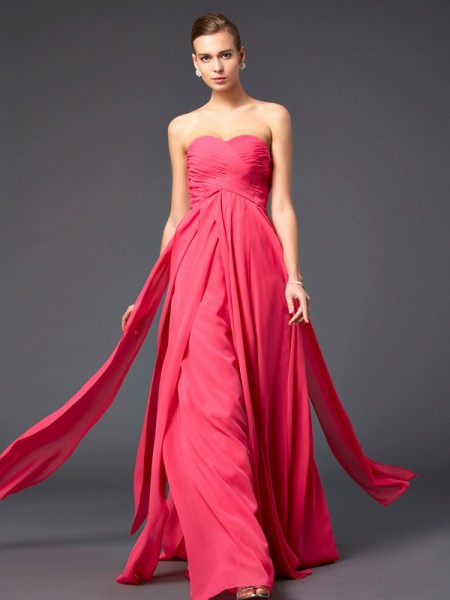 A Line Princess Floor Length Sweetheart Chiffon Pleats Evening Gown
