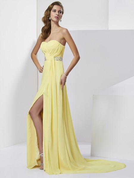 Column Beading Sweetheart Sweep Brush Train Chiffon Prom Dress