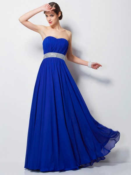 Empire Sweetheart Beading Floor Length Chiffon Prom Dress