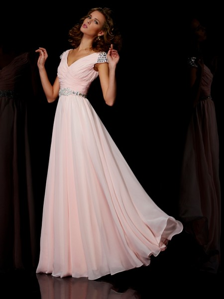 A Line Princess V-Neck Floor Length Short Sleeves Beading Chiffon Prom Dress