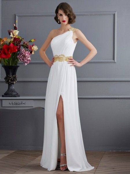 A Line Princess One Shoulder ruched Sweep Brush Train Chiffon Evening Dresses