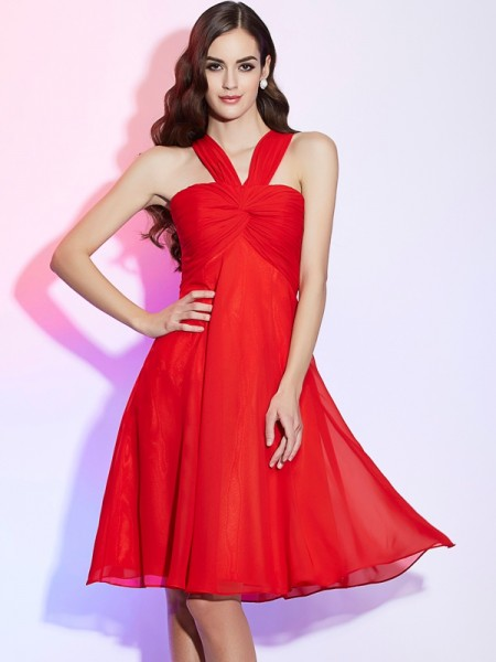 A Line Princess Halter Pleats Chiffon Knee Length Bridesmaid Dress