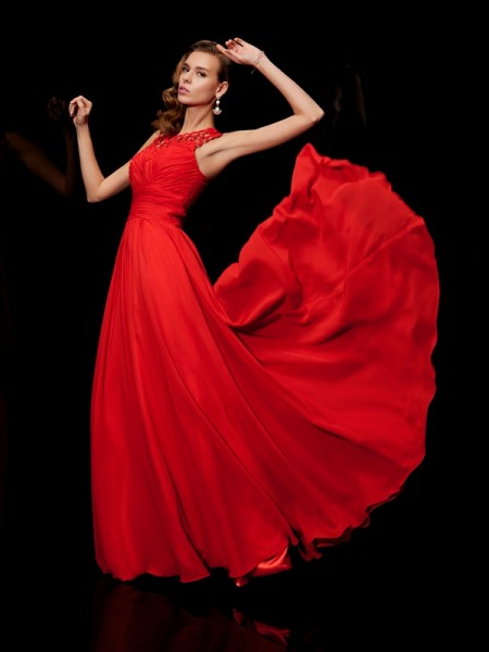 A Line High Neck Pleats Floor Length Evening Gown