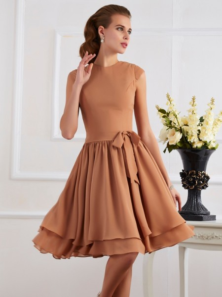Column Chiffon High Neck Knee Length Bridesmaid Dress