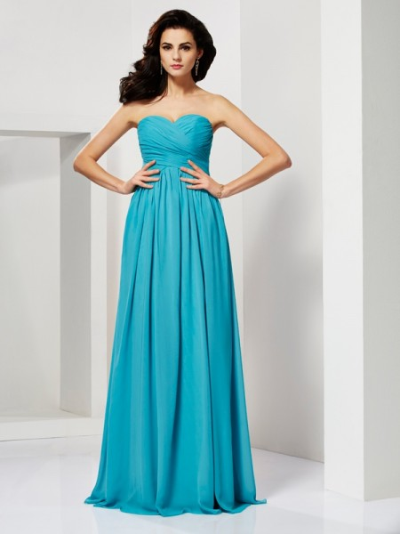 A Line Sweetheart Pleats Floor Length Chiffon Evening Dresses