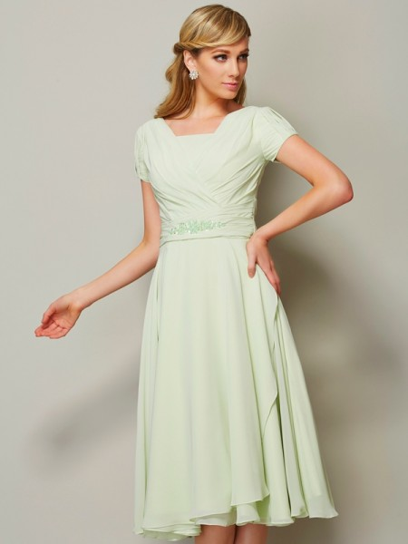 A Line Princess Bateau Short Sleeves Chiffon Knee Length Ruffles Bridesmaid Dress