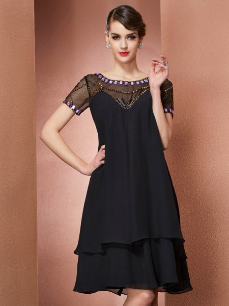 A Line Princess Scoop Short Sleeves Beading Chiffon Knee Length Gown