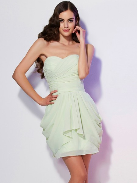 A Line Princess Sweetheart Mini Pleats Chiffon Women Dress