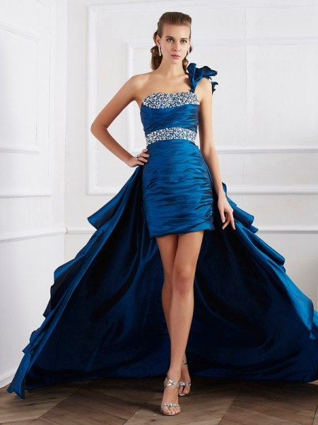 A Line One Shoulder Taffeta Beading Asymmetrical Evening Gown