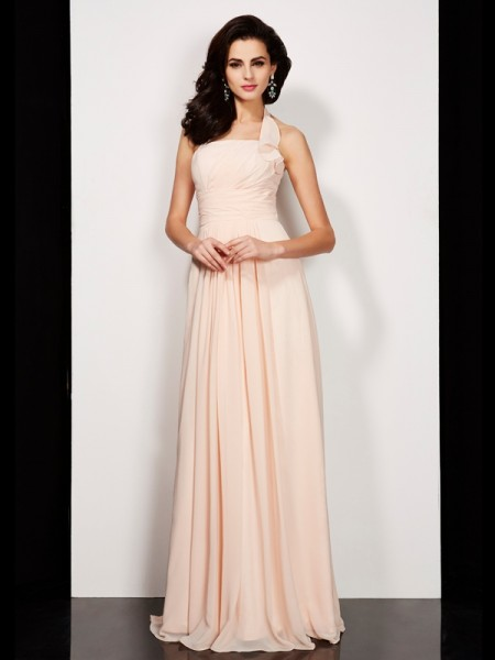 A Line Pleats Halter Floor Length Chiffon Evening Dresses