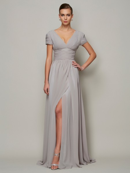 A Line Princess V-Neck Floor Length Short Sleeves Chiffon Gown