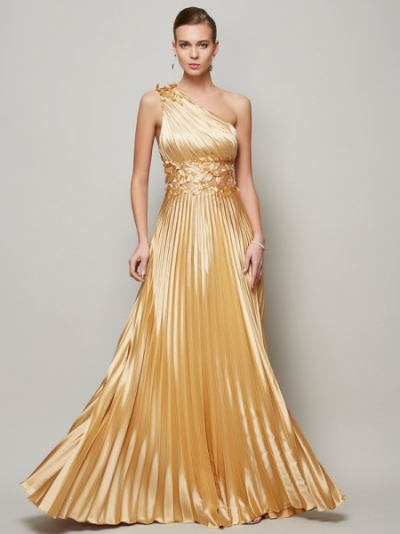 A Line Hand Made Flower One Shoulder Floor Length Elastic Woven Satin Dress