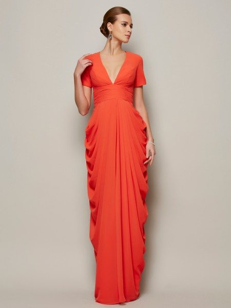 Column Short Sleeves V-Neck Pleats Floor Length Chiffon Gown
