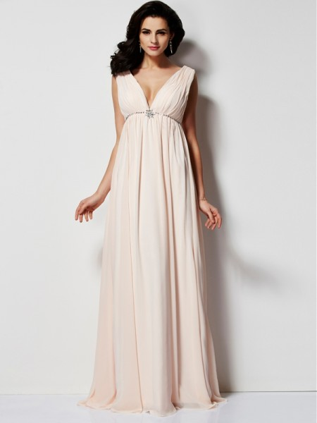 A Line Pleats V-Neck Floor Length Chiffon Evening Dresses