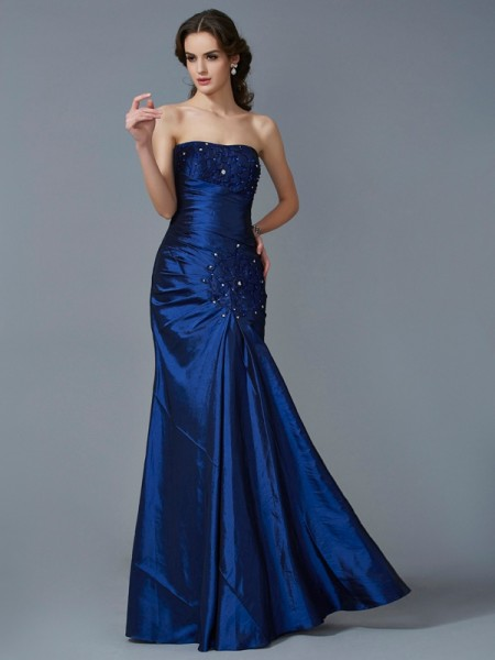 Mermaid Strapless Applique Taffeta Floor Length Evening Gown