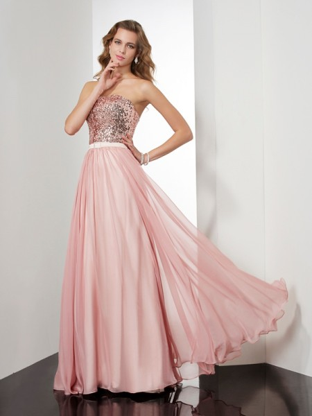 A Line Strapless paillette Floor Length Chiffon Evening Dresses