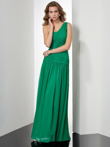 A Line Princess One Shoulder Pleats Floor Length Chiffon Dresses