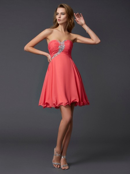 Beading A Line Princess Sweetheart Mini Chiffon Women Dresses