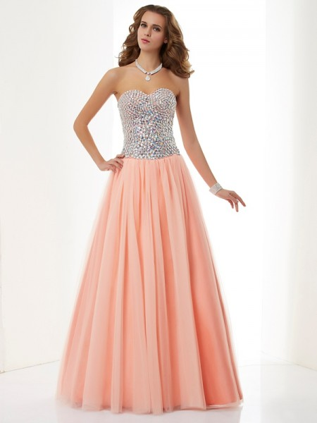 A Line Sweetheart Floor Length Beading Elastic Woven Satin Evening Wear