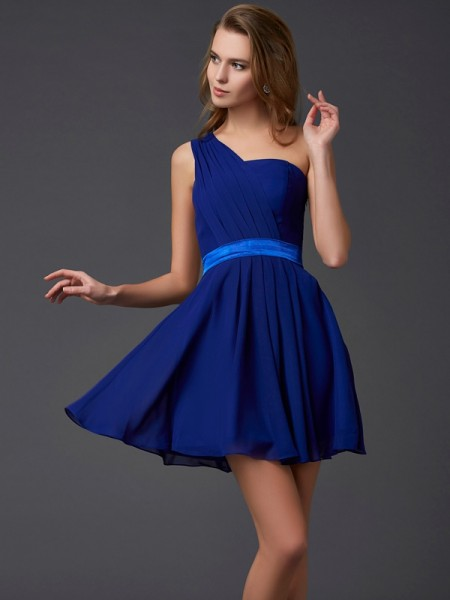 A Line Princess Chiffon One Shoulder Pleats Mini Gown