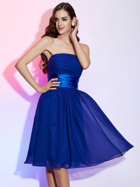 A Line Princess Strapless bowknot Knee Length Chiffon Gown