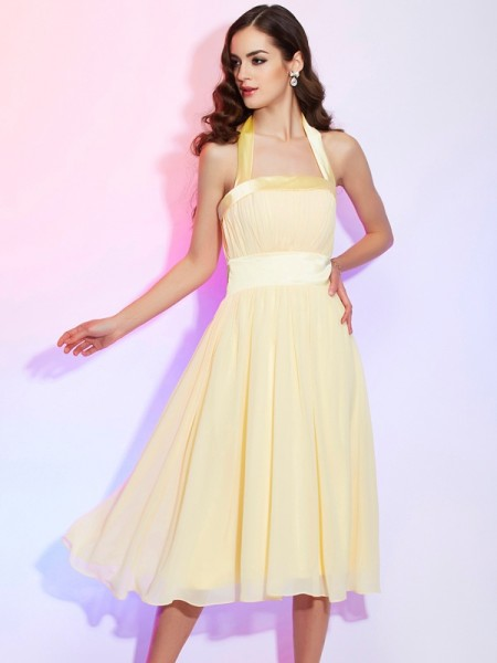 A Line Princess Knee Length Halter Pleats Chiffon Women Dresses