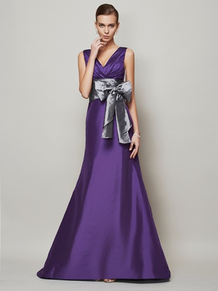 A Line Princess Taffeta V-Neck Floor Length Gown