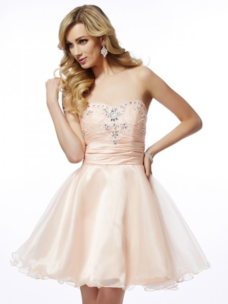 A Line Princess Sweetheart Beading Mini Tulle cocktail Gown