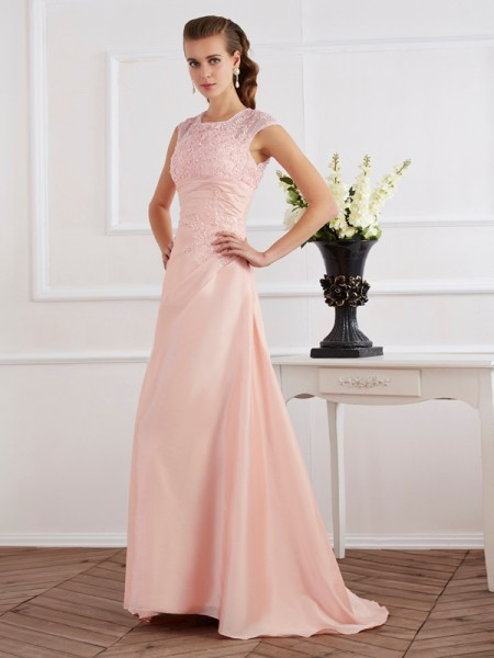 Column Short Sleeves High Neck Applique Chiffon Sweep Brush Train Gown